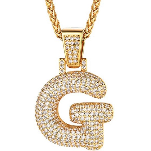 """Iced CZ Custom Bubble Letter C Initial Gold Plated Pendant 24/"""" Chain Necklace"""